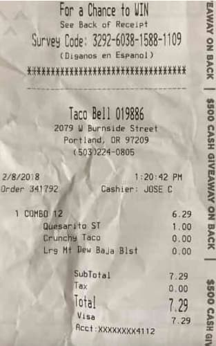 taco bell survey