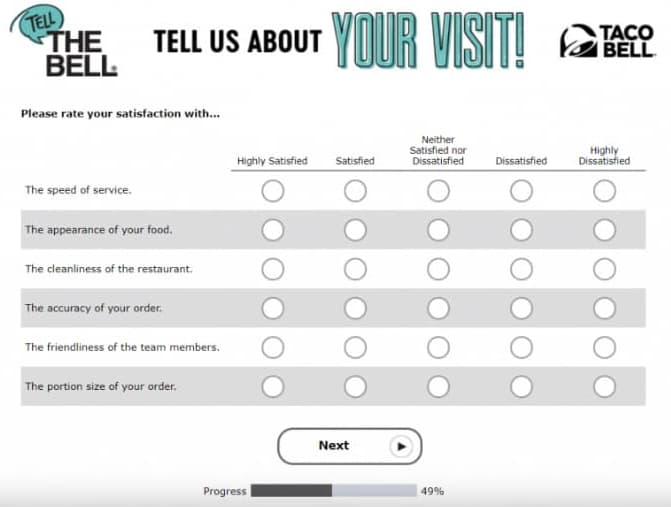 www tellthebell com survey