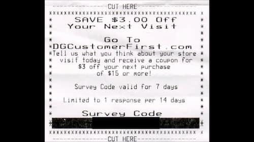 DGCustomerFirst Receipt Survey Code
