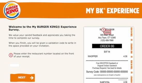 Enter Survey at My Burger King Experience