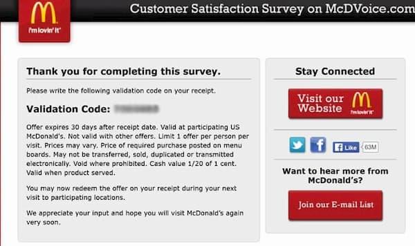 mcdvoice customer satisfaction survey