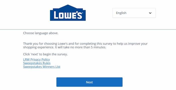 lowes survey online