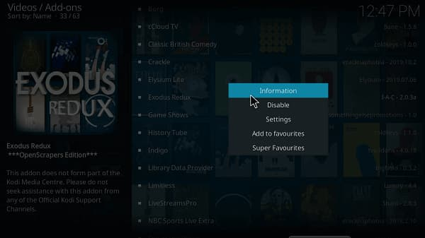 exodus redux not showing up in video add-ons