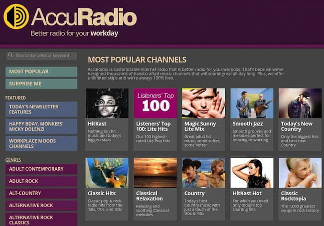 AccuRadio AccuRadio is the best option when you are unable to find good unblocked music sites on the internet. On AccuRadio, you will be able to access hundreds of radio channels with different types and choices of music. You can select the channel and what type of music you want to listen to on AccuRadio. This site is completely free to use. You can't download songs from this site.