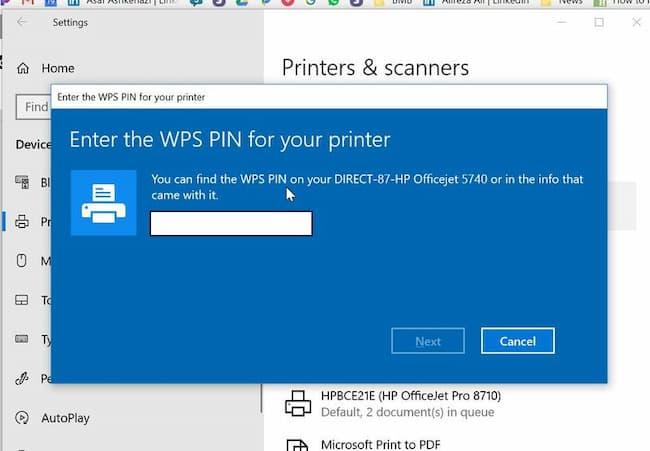 wps pin for printer